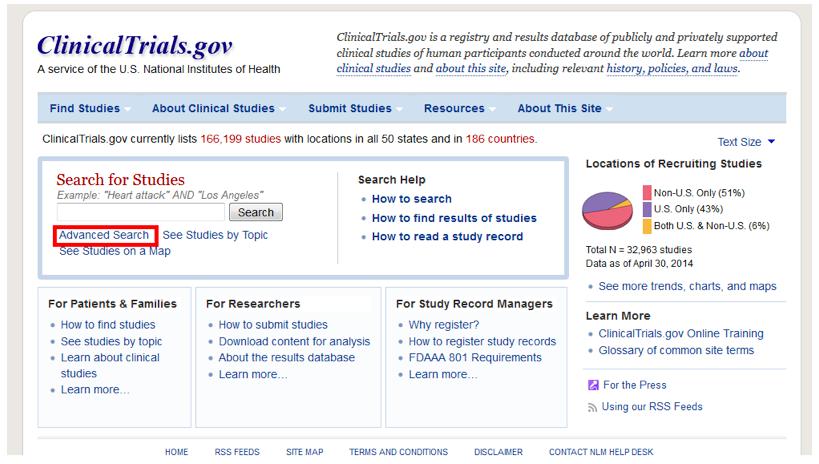 Клинические исследования - поиск по ClinicalTrials
